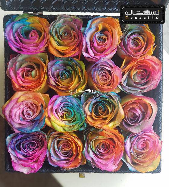 باکس گل رز رنگی لاکچری