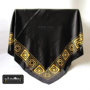 روسری ساتن مشکی طلایی