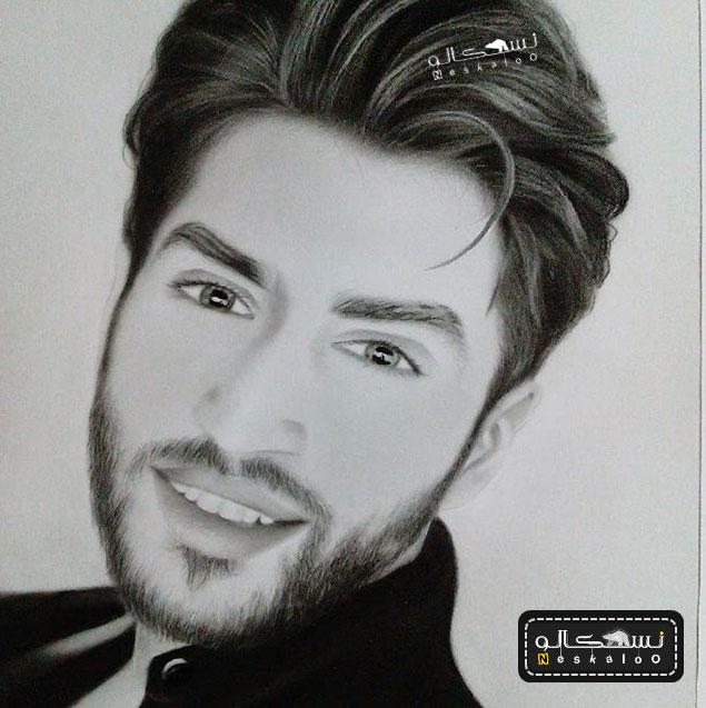 طراحی چهره سیاه قلم